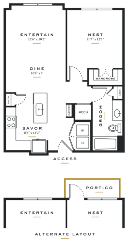 Essence on Maple One Bedroom Floor Plans A3