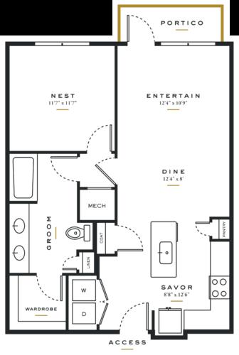 Essence on Maple One Bedroom Floor Plans A4