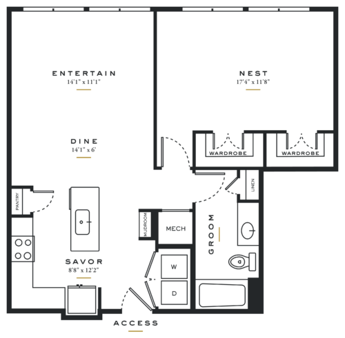 Essence on Maple One Bedroom Floor Plans A6