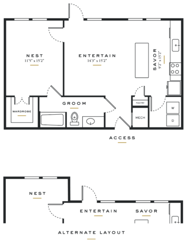 Essence on Maple One Bedroom Floor Plans L1