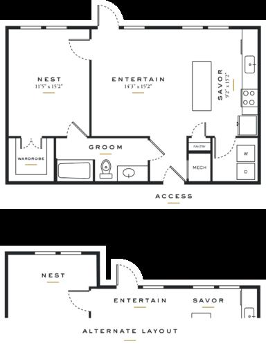Essence on Maple One Bedroom Floor Plans L1