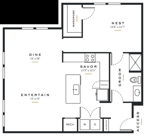 Essence on Maple One Bedroom Floor Plans L3