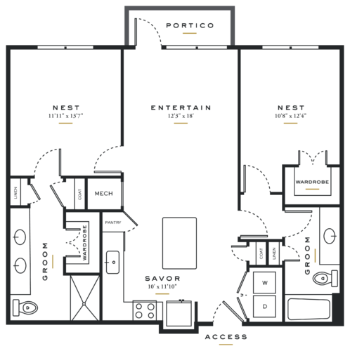 Essence on Maple Two Bedrooms Floor Plans B1