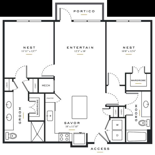 Essence on Maple Two Bedrooms Floor Plans B1