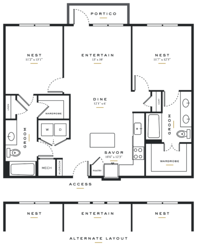 Essence on Maple Two Bedrooms Floor Plans B2