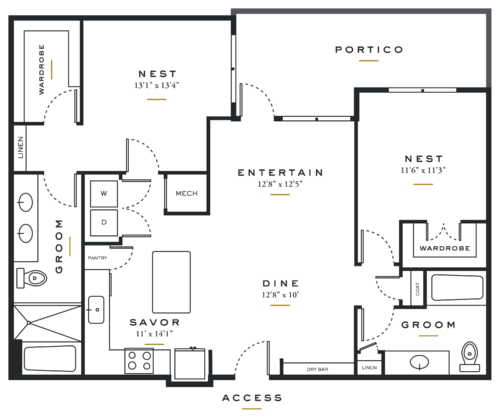Essence on Maple Two Bedrooms Floor Plans B3