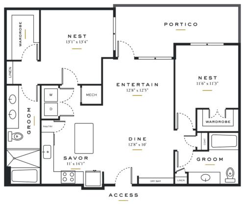 Essence on Maple Two Bedrooms Floor Plans B3