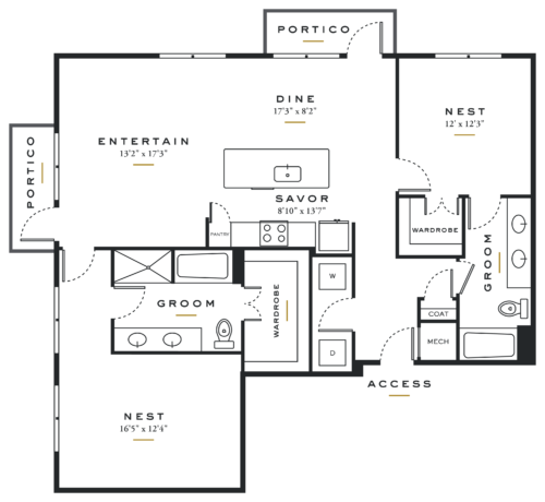 Essence on Maple Two Bedrooms Floor Plans B4